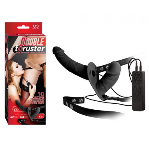 Double Thruster Çift Taraflı Belden Bağlamalı Protez Penis - Siyah